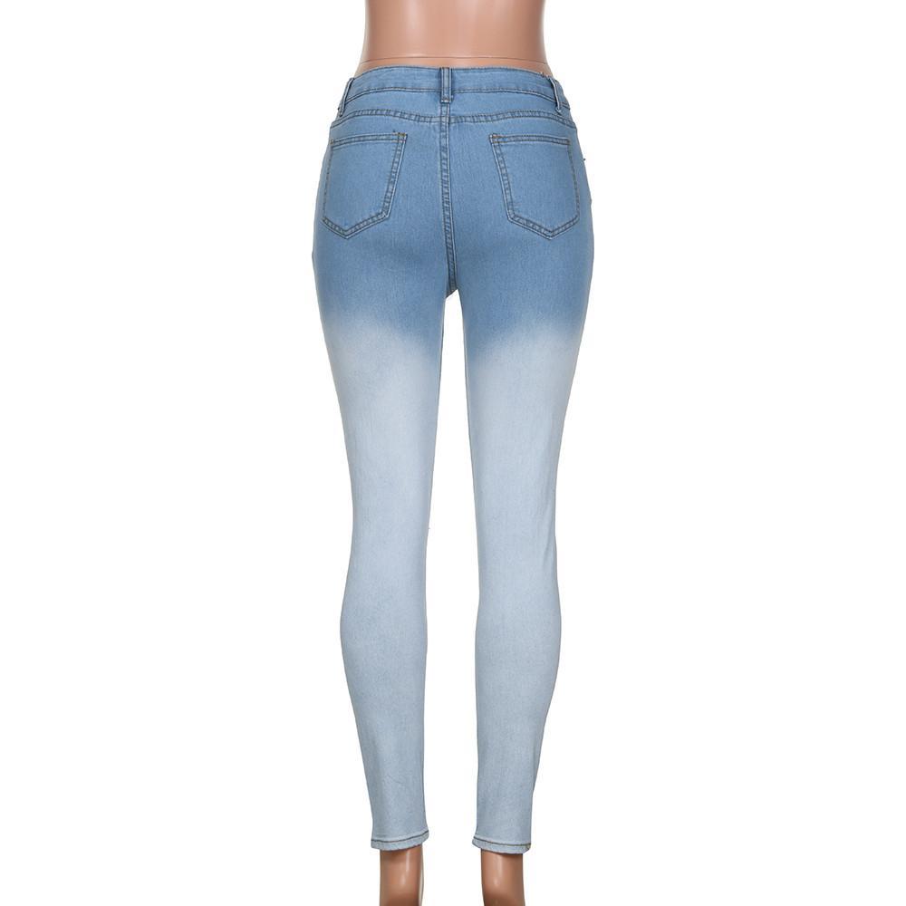 Compre Jeans De Mujer Azul Blanco Gradiente Lápiz Pantalones Jeans  Pantalones De Color Azul Y Blanco Gradient Pencil Pants A  32.87 Del  Luweiha  97be2bdcc90b