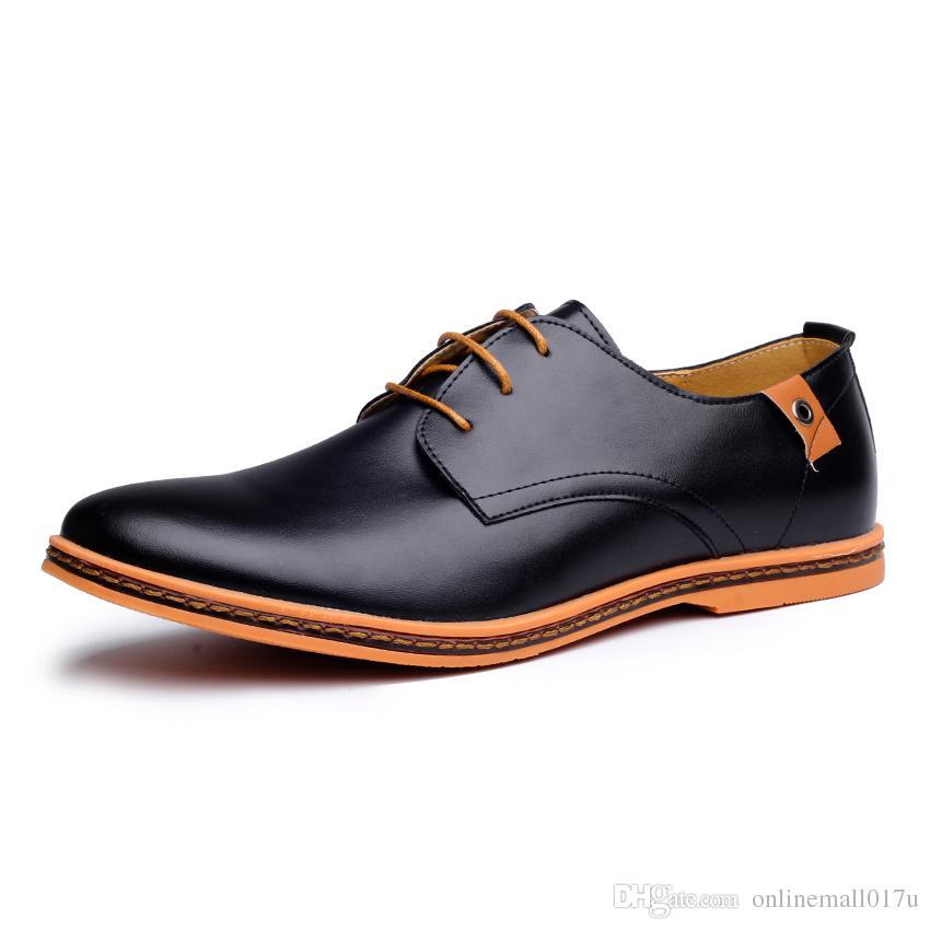 Compre 2018 Cuero Casual Hombres Zapatos Moda Hombres Planos Punta Redonda  Cómodo Zapatos De Vestir De Los Hombres De La Oficina Más El Tamaño 38 48 A  ... a2596cc73c50