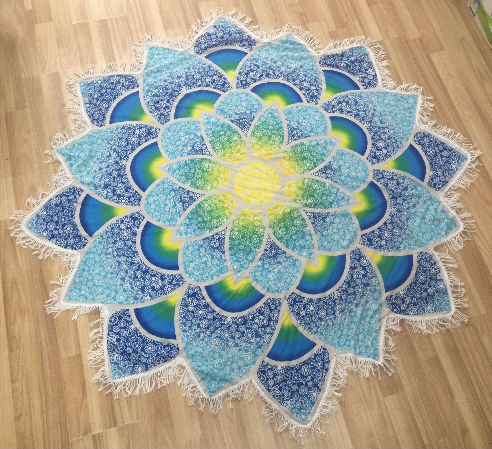 Lotus Flowers Thin Rayon Beach Towel Yoga Mat Bath Towels Printed