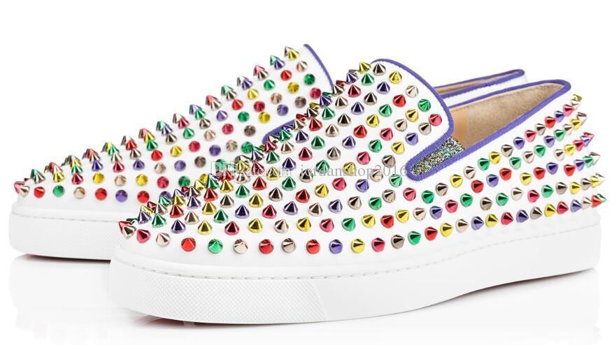Heiße rote untere Turnschuhe beiläufige Schuhe Mens Womens niedrige Silber Designer volle Spikes Roller Boot Wohnungen Skateboard Loafers Design Mann Frau Schuh