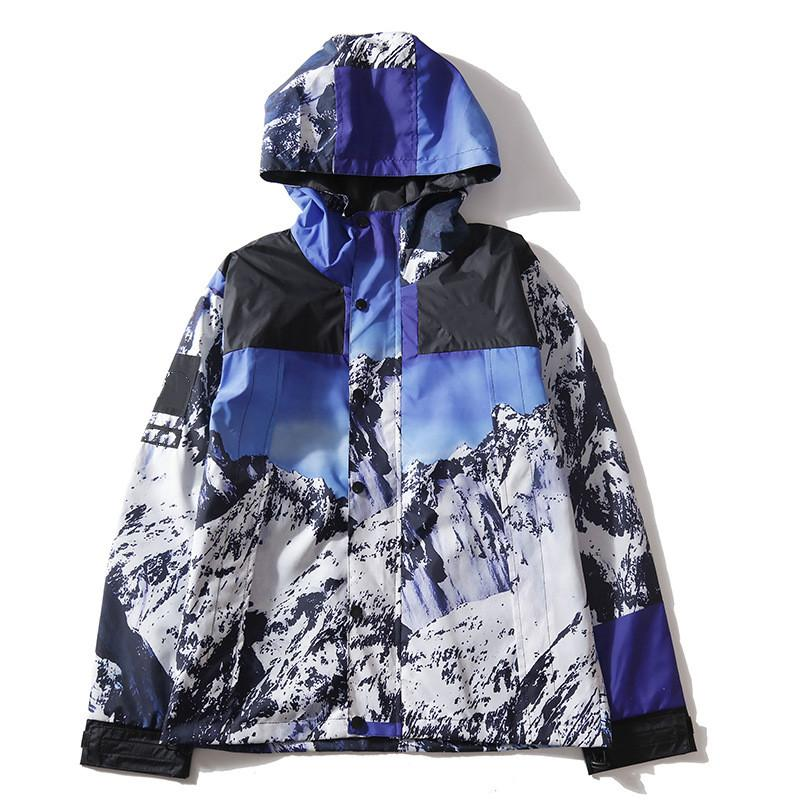 Men Harajuku Japanese jacket Snow Mountain Colorblock Jacket Hip hop loose coat Snow mountain pattern jacket new style wholesale