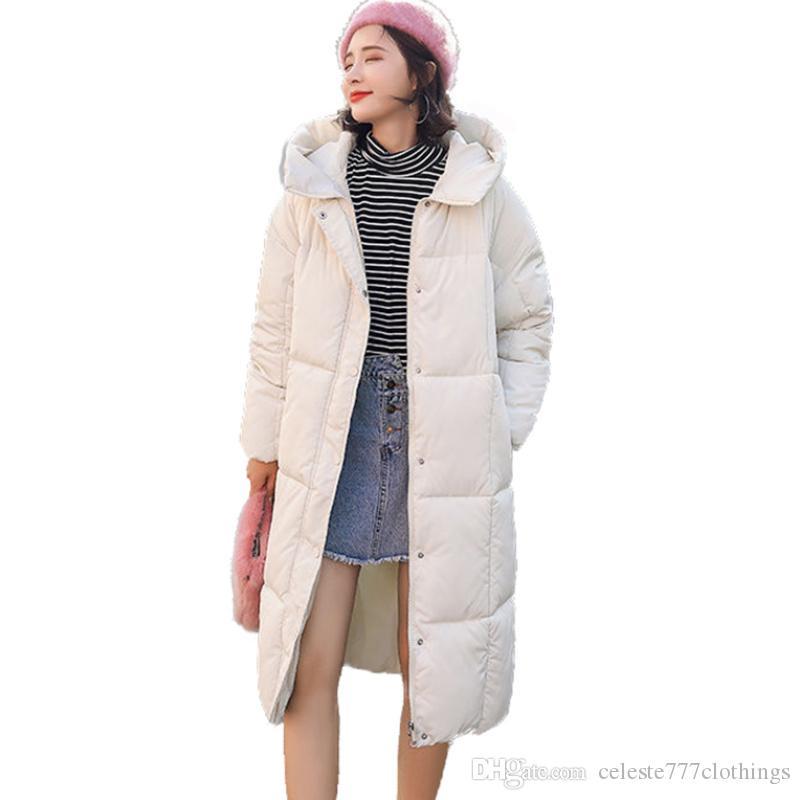 Compre 2018 Moda Mujer Damas Chaqueta Abajo Gruesa Con Capucha Soild Mujer  Invierno Puffer Abrigo Cazadora Caliente Parka Largo Outwear Parkas JACKETS  A ... 910b8340ec63