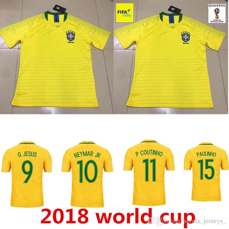 9b633b06b 2019 2018 World Cup Brazil Home Soccer Jersey Brasil 10 NEYMAR JR Soccer  Shirt  11 COUTINHO  9 G.JESUS Brazil Home Yellow Football Uniforms Sales  From ...