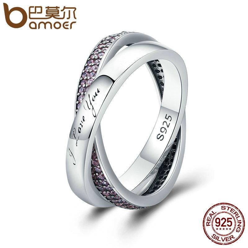 a863afb9b 2019 BAMOER Real 925 Sterling Silver Sweet Promise Ring, Pink CZ Female  Wrap Finger Ring For Women Engagement Jewelry PA7650 D18111306 From  Shen8409, ...