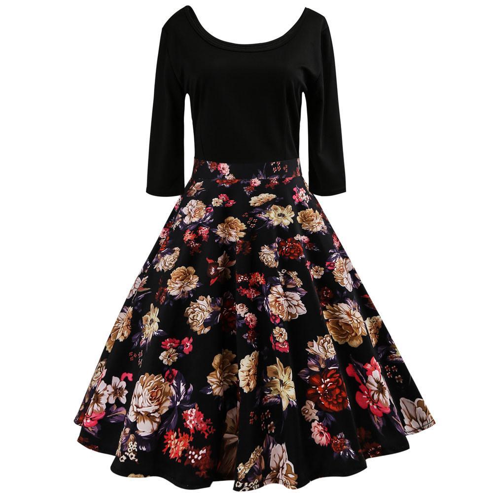 0bf2ebbc3278c Acquista Vestito Da Donna Vintage 2018 Eleganti Ragazze Da Donna Con Stampa  Floreale Maniche A Tre Quarti