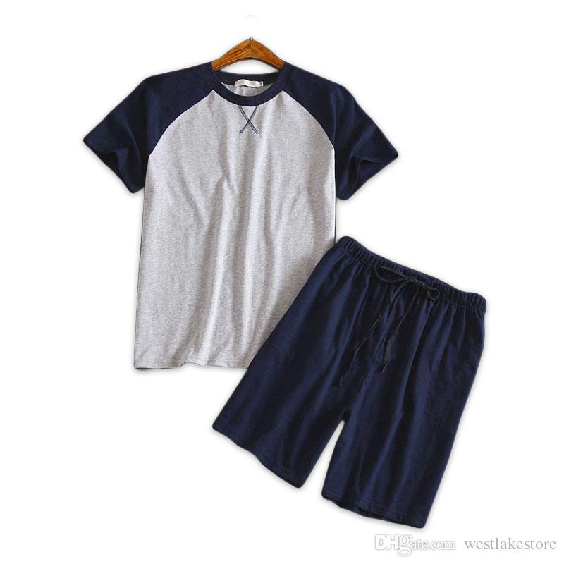 058ce690aea621 Plus size 100% algodão conjuntos de pijama curto homens verão de manga  curta pijamas para homens coreanos pijama hombre pijama homme
