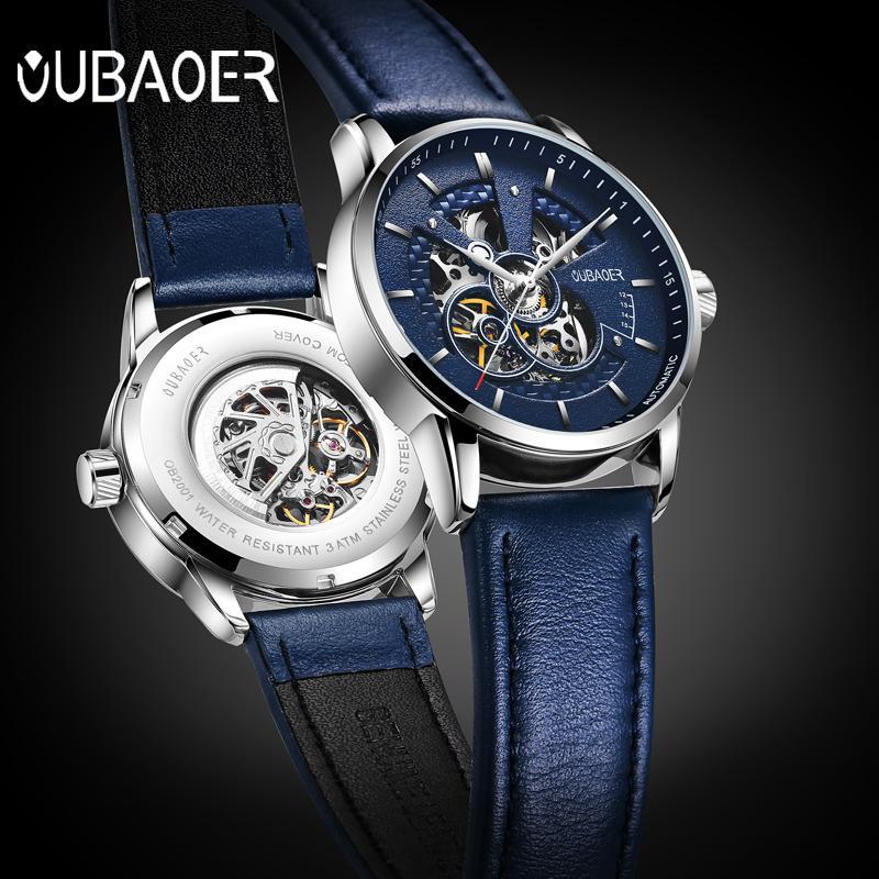 37eebe47df3 Compre OUBAOER Original Men Watch Top Marca De Luxo Relógio Mecânico  Automático De Couro Relógios Militares Relógio Homens Relojes Masculino  S923 De Ruiqi07 ...