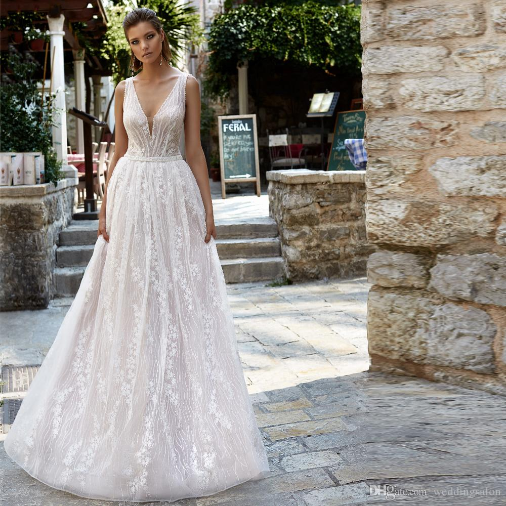 2019 new designer a line beach wedding dresses - designer beach wedding dresses