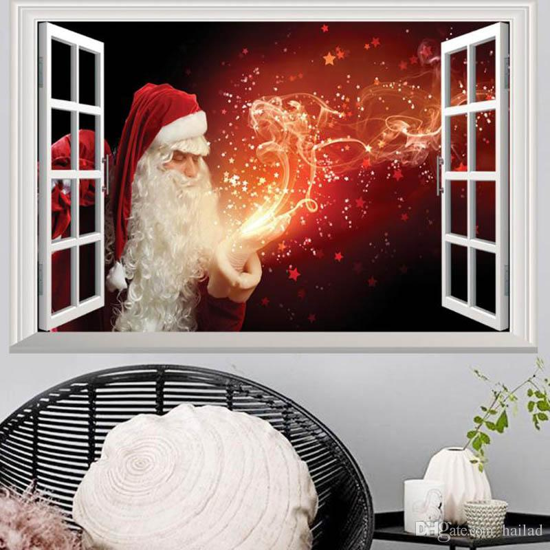 Großhandel 3D Removable Weihnachten Gefälschte Fenster Landschaft ...