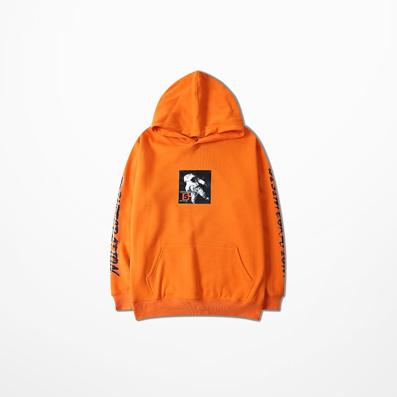 bf3c84fe45220 Fashion Chic Mens Hoodies And Sweatshirts Hip Hop Astronaut Print Orange  Skateboard Sweatshirt High Street Harajuku Hoodie Men Online with   64.44 Piece on ...