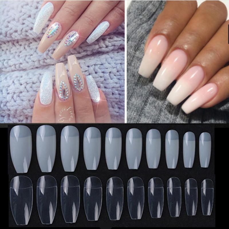 Artificial Nail Tips Smart Fake Long Diy Coffin Shape Nail Art Tips False Cover False Ballerina Nails Making Things Convenient For Customers