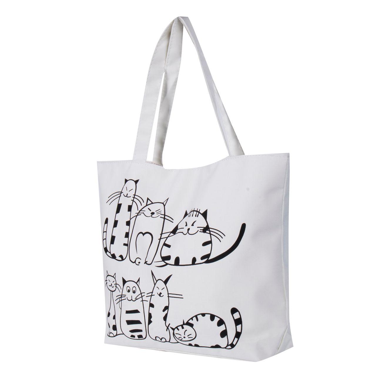 Women Canvas Handbag Cartoon Cat Printed Shoulder Bag Female Large Capacity  Ladies Beach Bag Women Canvas Tote Shopping Handbags Handbags Purses From  ... 23b769696bfe3