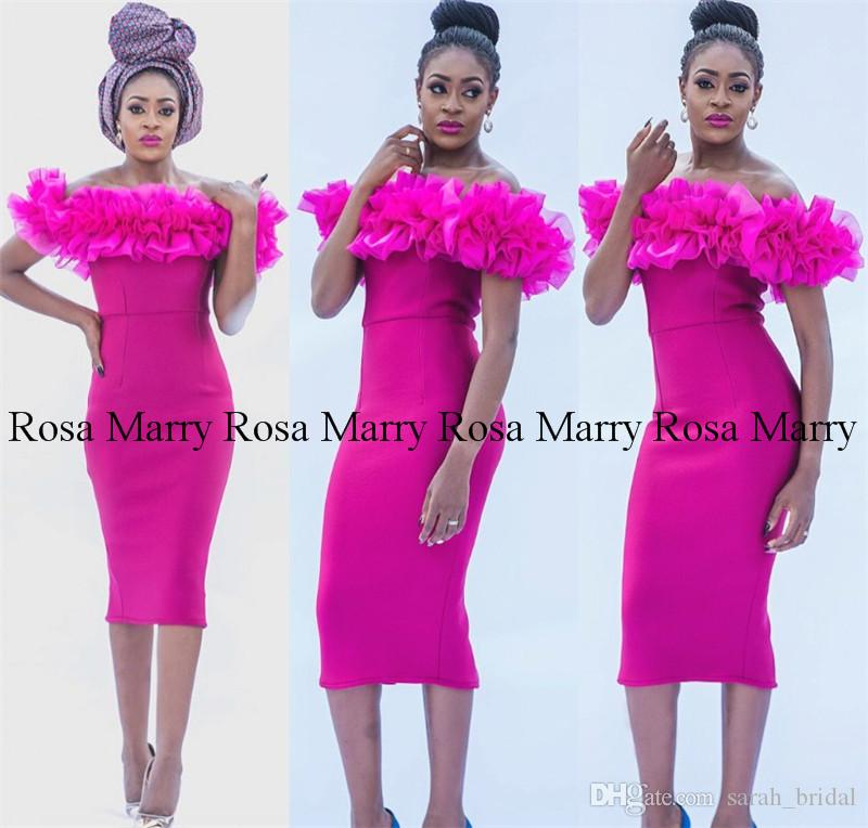 ccf0c70924c Sexy Fuchsia Tea Length Cheap Cocktail Party Dresses 2018 Off Shoulder Plus  Size Ruffle Black Girls African Arabic Formal Evening Prom Gowns Floral  Cocktail ...