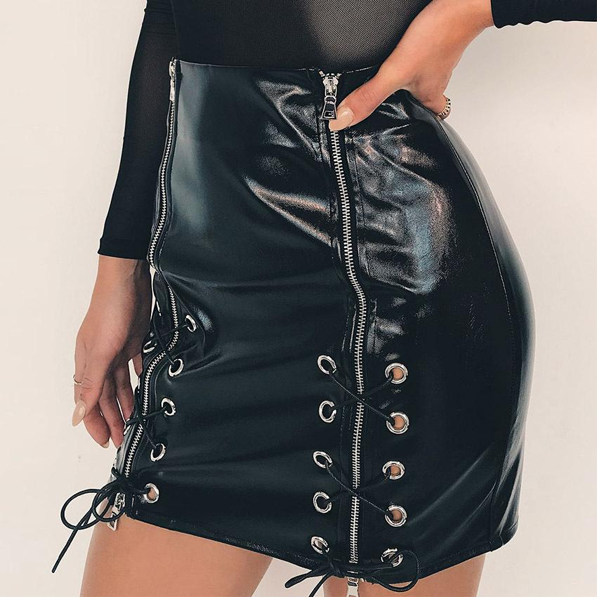 5f5219a9c0 Women PU Leather Skirts Black Bandage Design Zippers Punk Club Skirt  Clothing Hip Up Sexy Skirts Women PU Leather Skirts Punk Club Skirt Hip Up Sexy  Skirts ...