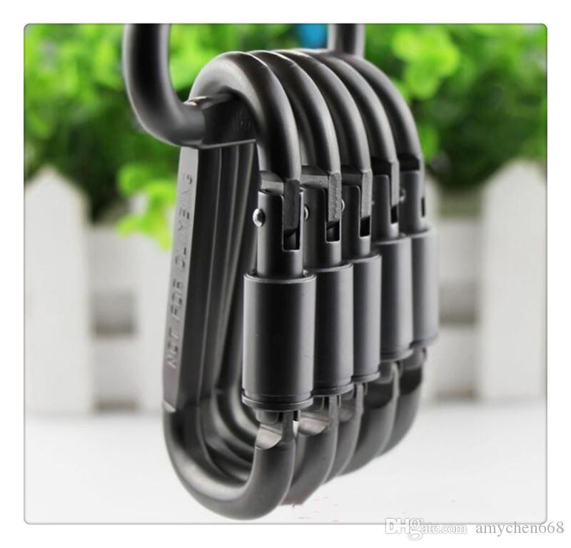 Forma de aluminio Hebilla Mosquetón Llavero Survial Carabine Hook Clip Equipo de Camping EDC Paracord Hebillas