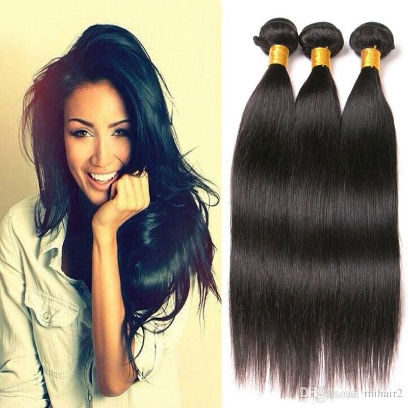 Long Straight Bundles Natural Black Color Peruvian Hair Weave
