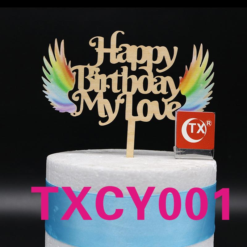 2019 Happy Birthday My Love Angel Colorful Print Wooden Cake Topper Acrylic Party Decoration From Chongyangclothes007