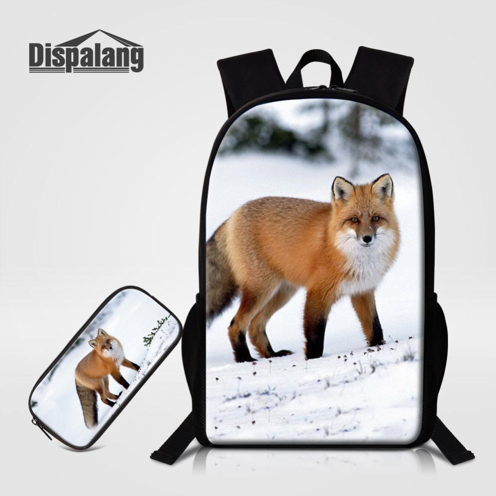 7d3aee36965 Dispalang School Bag Fox 3D Printing School Backpack Pencil Case Bag  Combination Bookbag Primary Student Daily Backpack Backpacks Cheap Backpacks  Dispalang ...