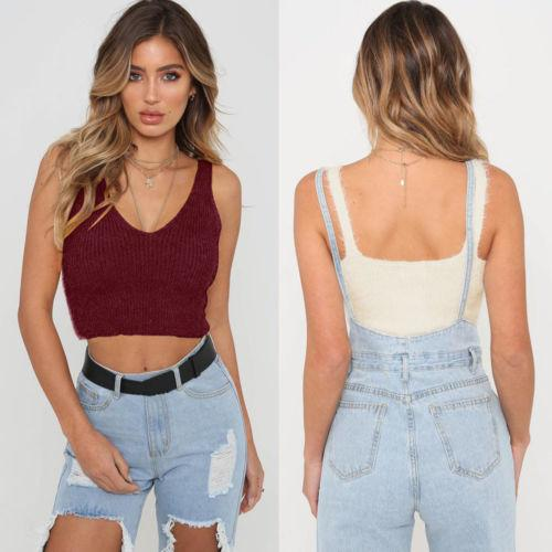 c35086a7ef169 2019 Fashion Women Pretty Club Cropped Cami Party Casual Sleeveless Yellow  Red White Black Vest Tank Tops Sweater From Jellwaygood