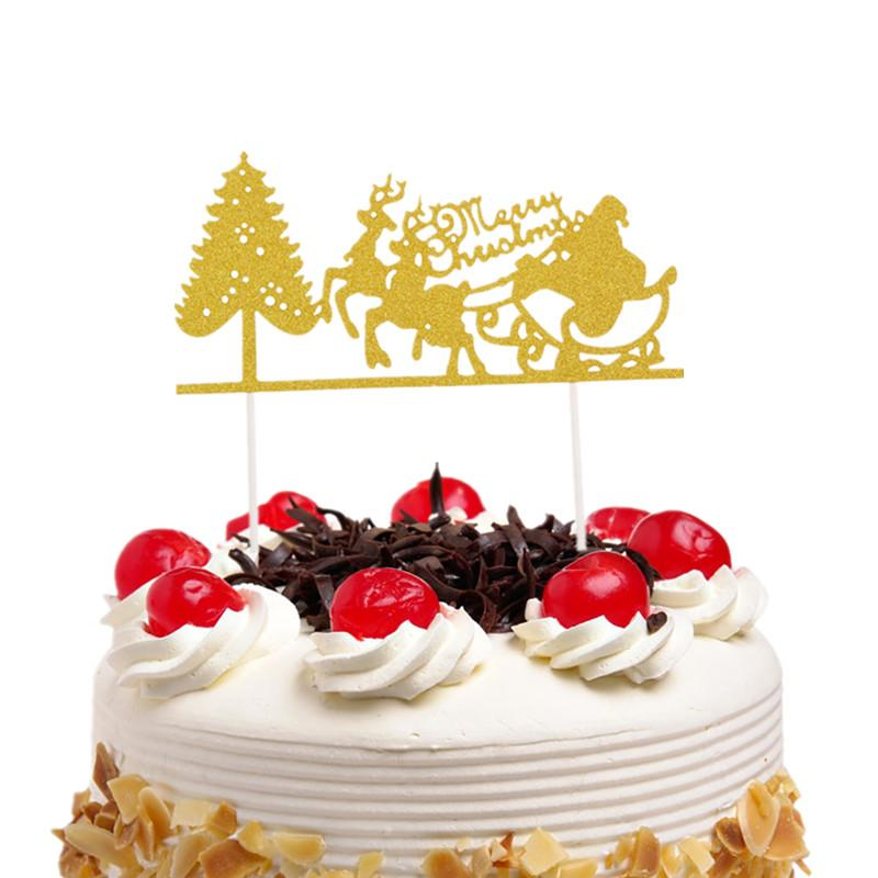 Christmas Cake Toppers.20pc Lot Christmas Cake Toppers Flags Santa Claus Elk New Year Kids Birthday Cupcake Topper Wedding Party Baby Shower Baking Diy