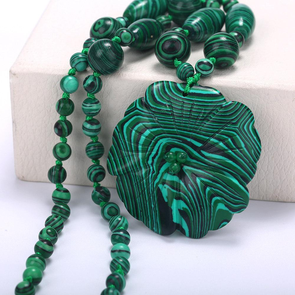 5*5cm coral turquoise Natural Crystal Necklace Malachite Flower Pendant lapis lazuli beads natural necklace Gemstone Love Heart