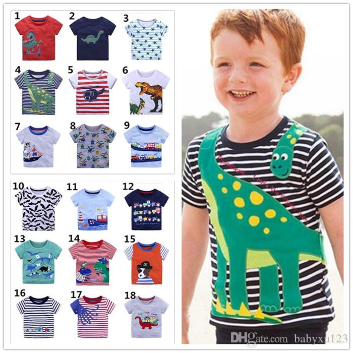 64a154bf2 2019 Kids Clothing T Shirts Boys Cartoon Tees Unicorn Children Clothes  Sailing Boat Dinosaur Cars Short Sleeve Cotton Y175 From Babyxu123, $3.52 |  DHgate.