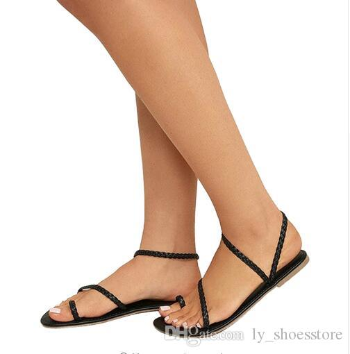 c56872c8b862 2018 Women Shoes Summer Sexy Sandals Ladies Strappy Gladiator Low Flat Heel Flip  Flops Beach Sandals Shoes Female Tan Wedges Fringe Sandals From ...