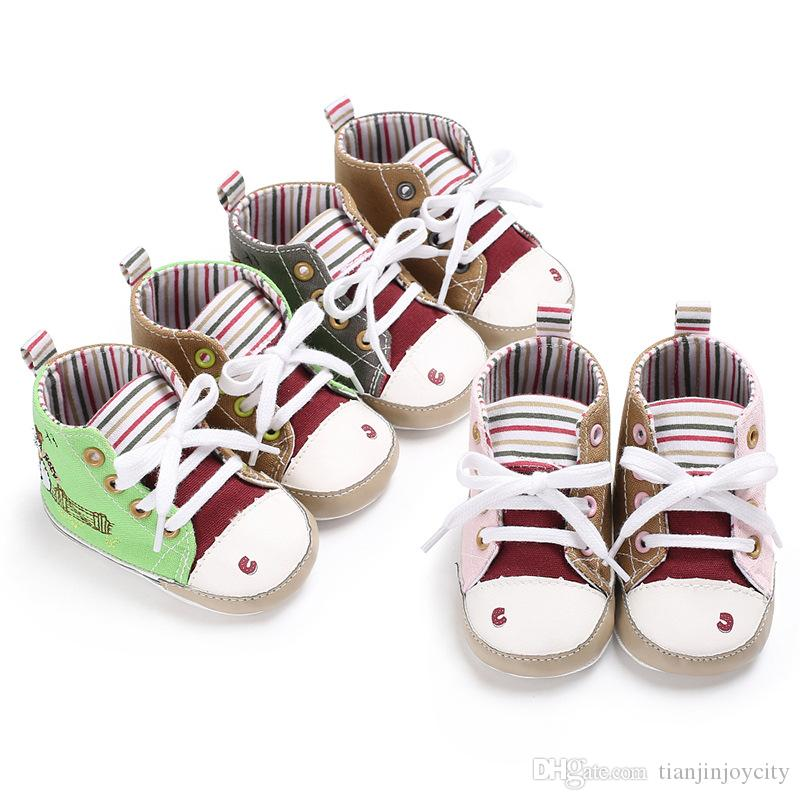 Baby Shoes Boys Girl High Top Shoe Infant Newborn Casual Canvas Prewalker  Children Booties Kids Boots Bebe Sapatos Sport Sneaker Online with   12.03 Piece on ... 7c049c14572d