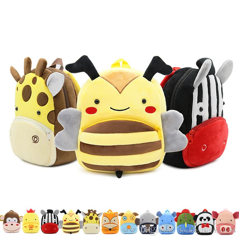 cca23452e73 New Arrival Lovely Kids Cartoon Zoo Animal Family Plush School Bags 30  Animal Children Kindergarten Backpacks For Little Girls Boys 2-4Years