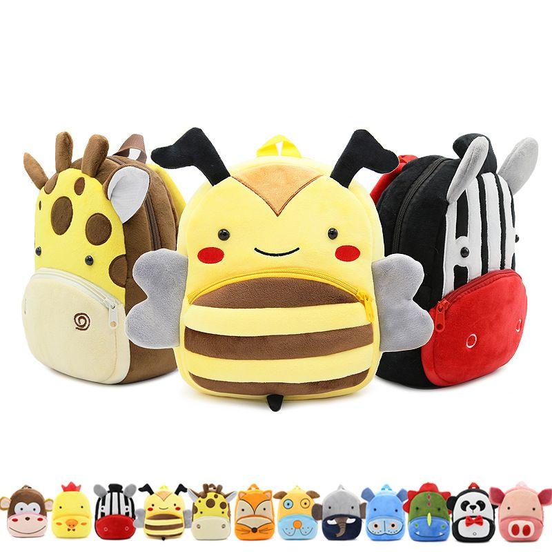 cca23452e73 New Arrival Lovely Kids Cartoon Zoo Animal Family Plush School Bags 30  Animal Children Kindergarten Backpacks For Little Girls Boys 2-4Years