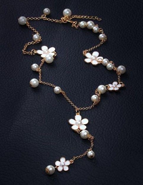 Nuove donne di moda fiore collane di perle ciondolo di cristallo choker catena chunky maglione catena dichiarazione robusta