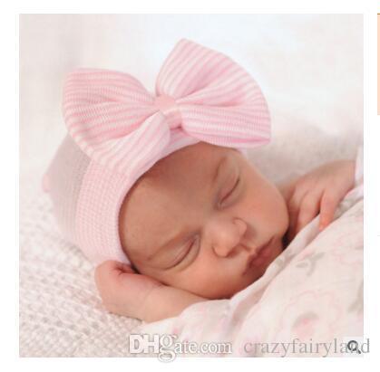 f5df9a07c5c 2019 Girls Boys Hats Warm Baby Hat Winter Autumn Newborn Striped Caps  Hospital Hats Soft Beanies Bow Photography Hats 0 3M DHL From  Crazyfairyland