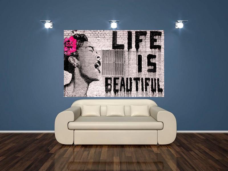 2019 High Quality Banksy Street Graffiti Life Is Beautiful Hd Print