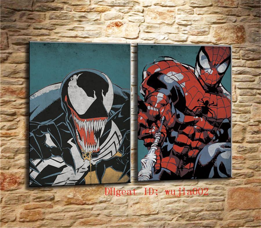 Satın Al örümcek Adam Ve Venom 2 P Tuval Boyama Oturma Odası Ev