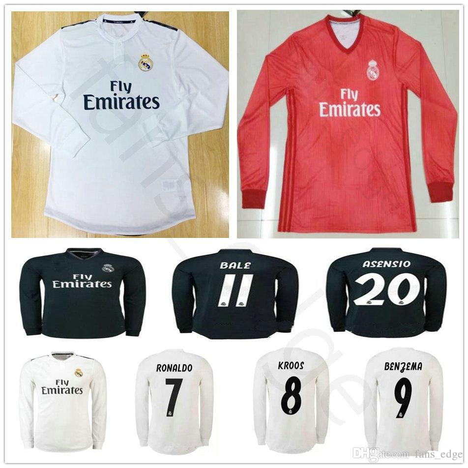 2018 19 Real Madrid Long Sleeve Soccer Jersey Sergio Ramos Ronaldo Kroos  Bale Marcelo Asensio Isco Modric Custom White Black Football Shirt UK 2019  From ... 26e15d79c