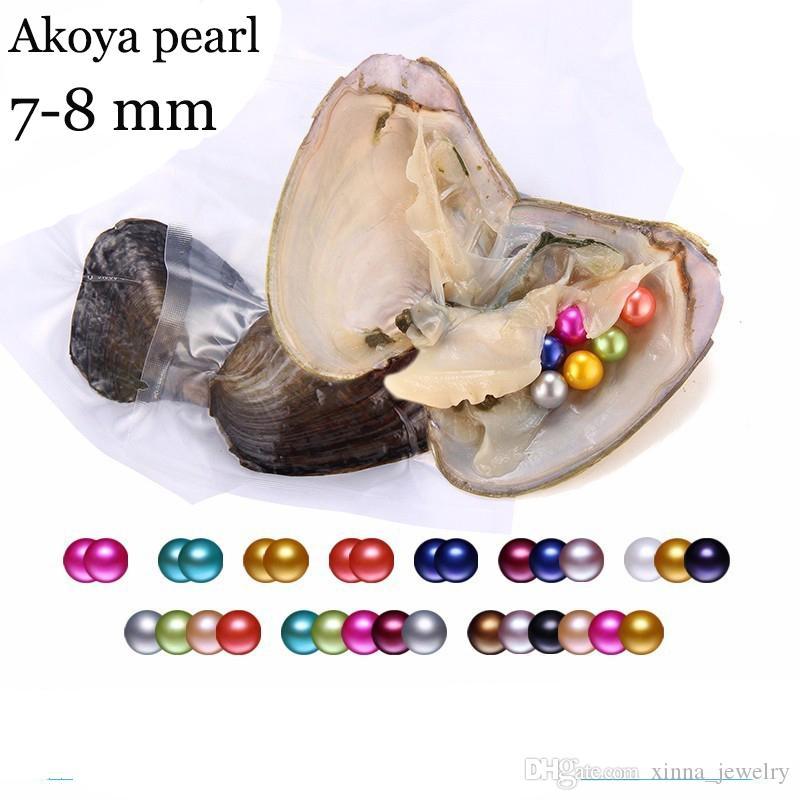 Toptan 2018 DIY 7-8mm yuvarlak Oyster Pearl 25 mix renk tatlı su Doğal inci Hediye DIY Gevşek süslemeler Vakum Paketleme