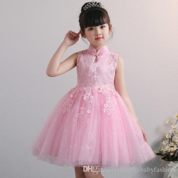 Kids Girl Dress Fashion Outfits Chinese Cheongsam Formal Tulle Dress Sleeveless Lace Evening Gown Party Wedding Princess Dresses KA825