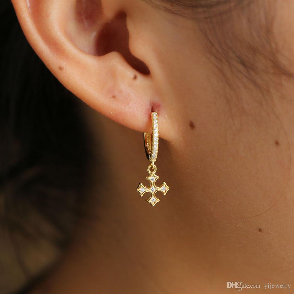 84a81905b60 925 sterling silver cross dangle hoop earring with cz paved gold tiny hoop  earrings for wedding earring