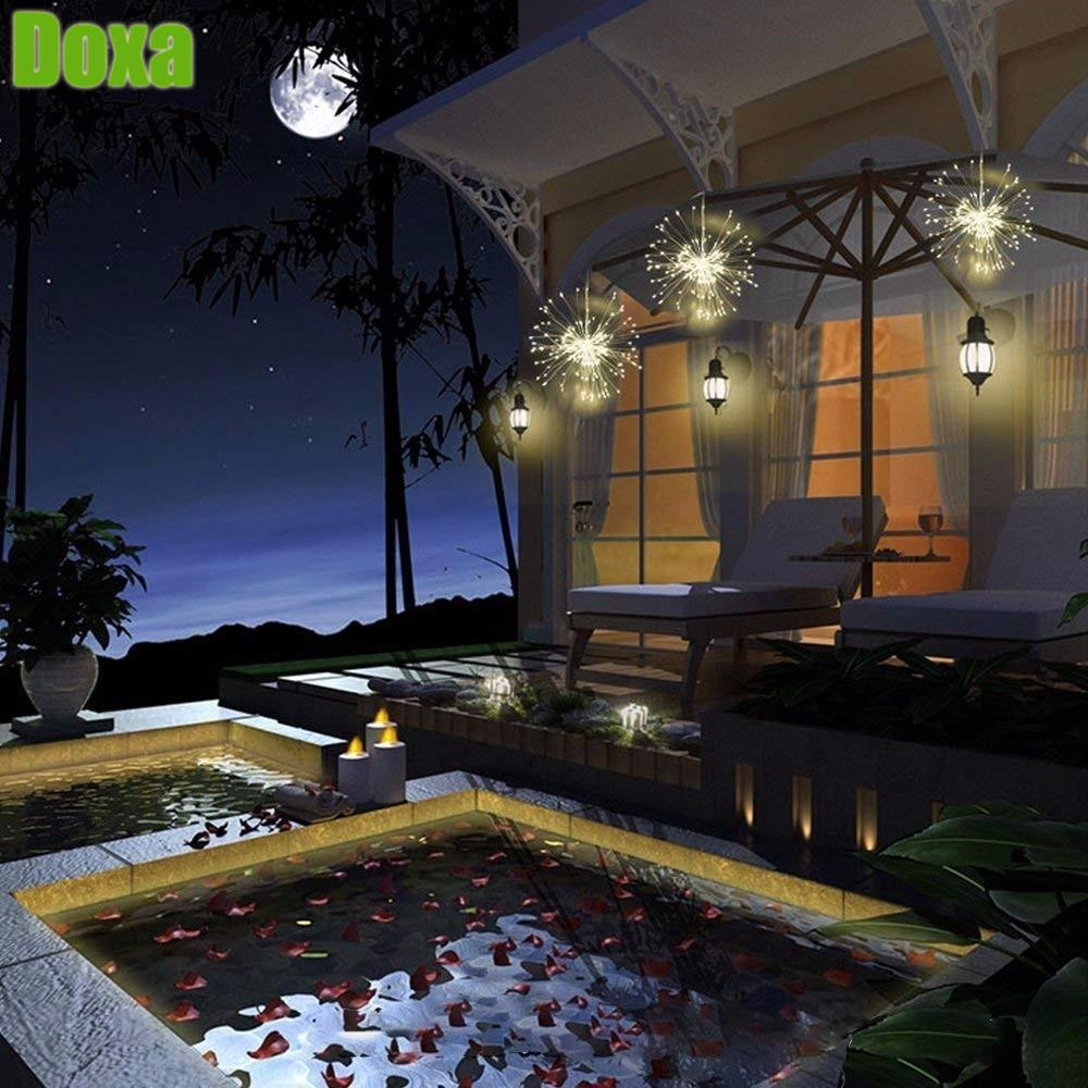 Doxa LED Fairy String Light Remote Control 80LEDS Battery Operated  Starburst Holiday Lights Garden Room Christmas Decoration DIY Outdoor  String Lighting ...