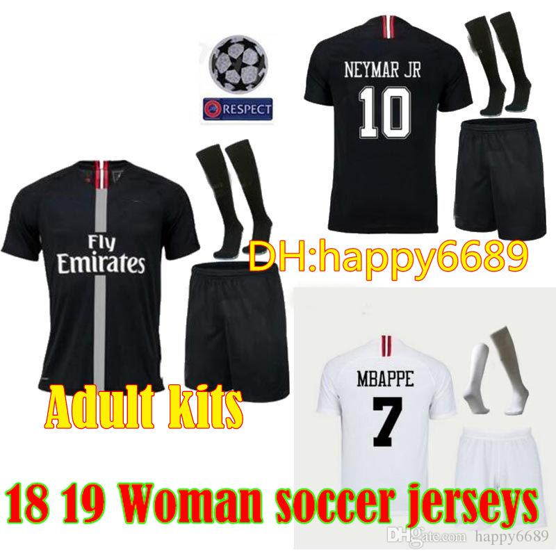 8c1fcbaba 2019 Adult Kit 18 19 Psg Champions League Soccer Jersey Paris Mbappe Black  2018 2019 Maillot De Foot CAVANI PRE MATCH Men Sets Football Shirts From ...