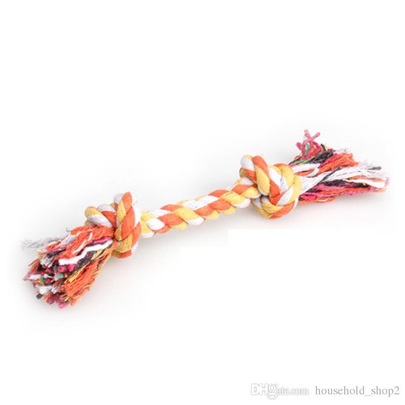 الحيوانات الأليفة الكلب القطن يمضغ عقد اللعب الملونة دائم مضفر العظام حبل 18 سنتيمتر مضحك الكلاب القط لعبة