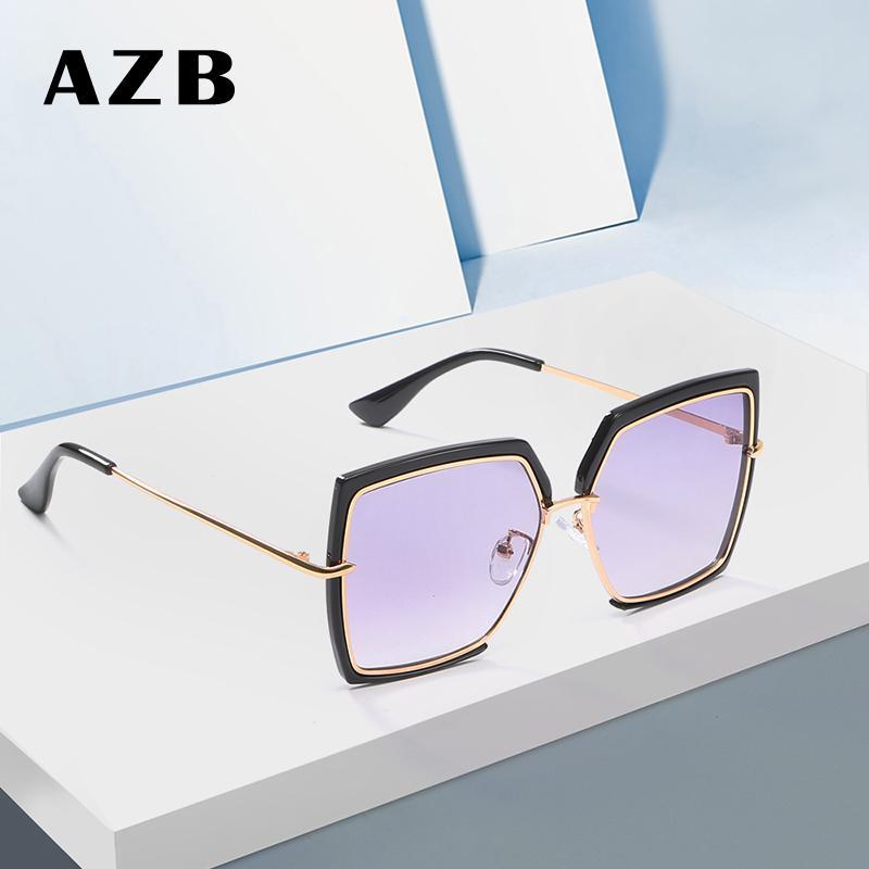1289088b7a44d AZB Fashion Oversized Sunglasses Women Metal Square Sunglass 2018 Brand  Female Shades Mirror Big Size Frame Sun Glasses Gafas Best Sunglasses  Dragon ...