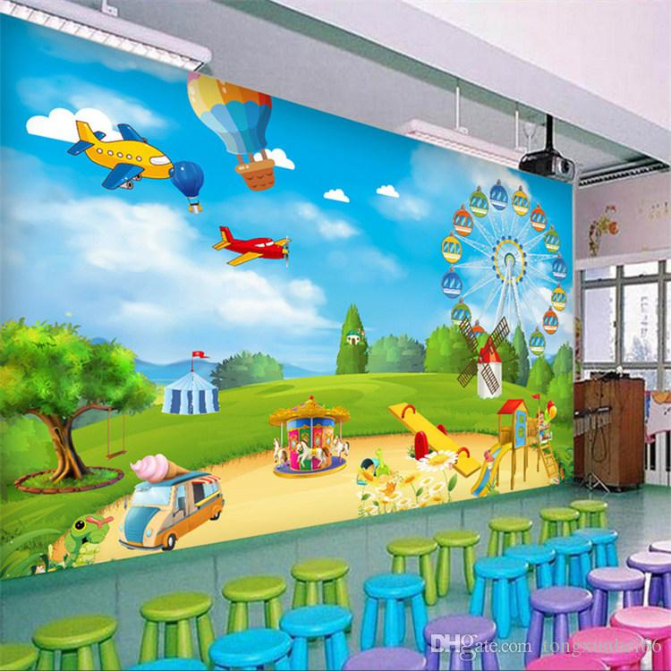Custom Photo Wallpaper 40D Cartoon Playground Children Room Bedroom Wall Decoration Wall Mural Wallpaper For Kids Room Modern Classy Kids Bedroom Wall Murals