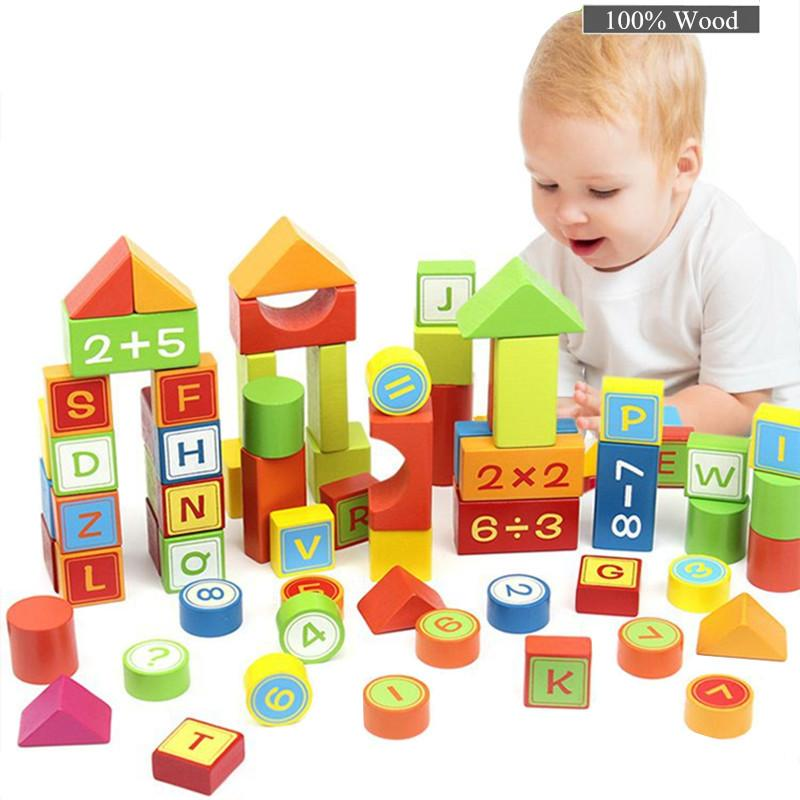 100 Pieces mathematics and letters building blocks children educational  kids wooden bricks Basic stacking toys Free Ship Factory Price Sale