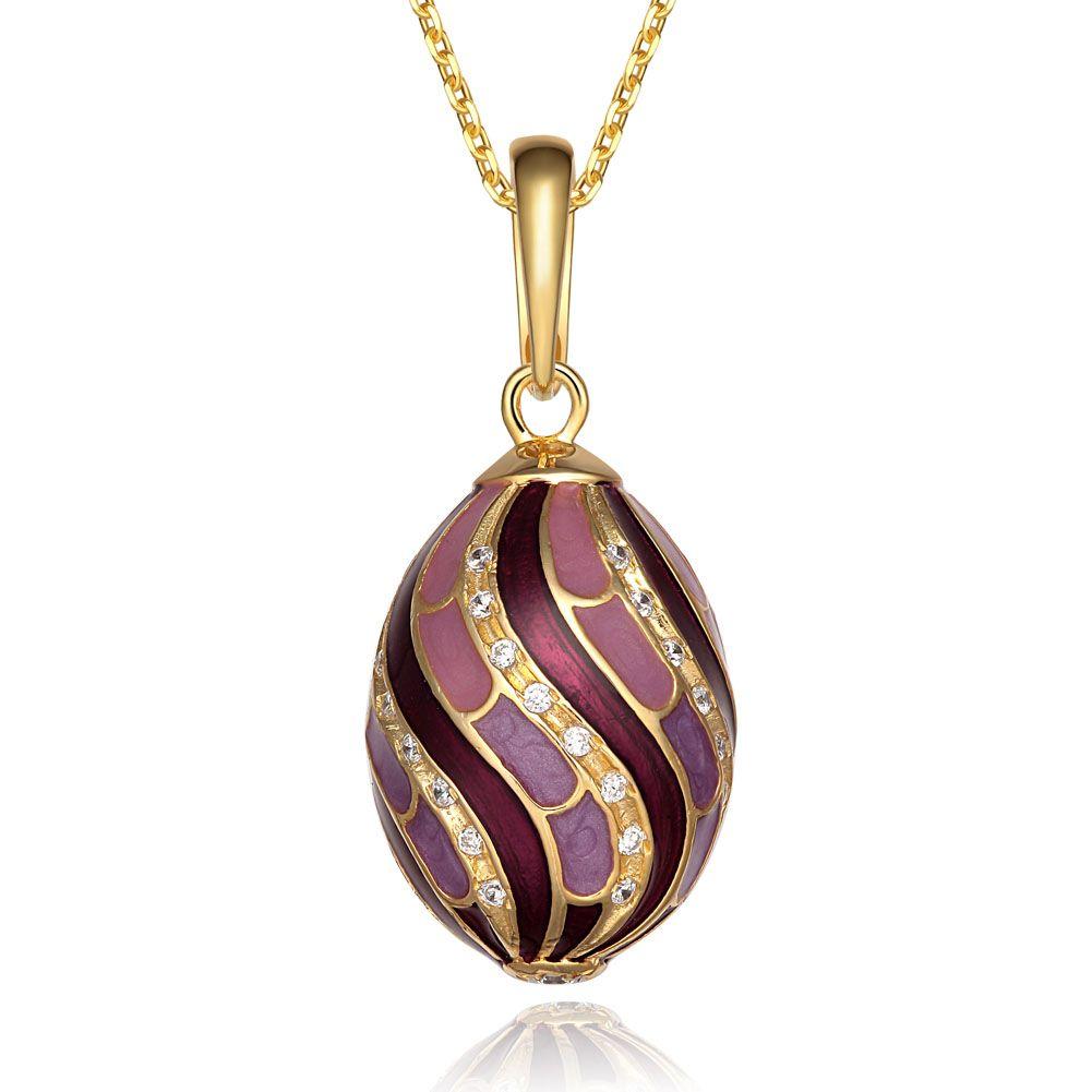 클래식 진짜 925 스털링 실버 Faberge 에그 펜던트 참 크리스탈 크리스털 모조 다이아몬드 목걸이 귀족 고유의 부활절 보너스 계란 여자에게