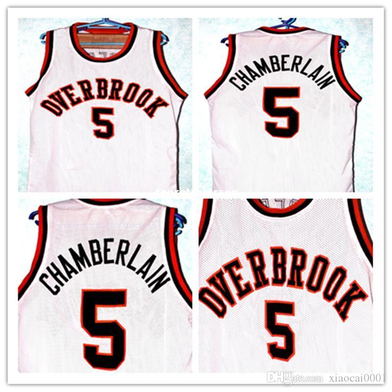 2019 Cheap WILT CHAMBERLAIN  5 OVERBROOK HIGH SCHOOL JERSEY WHITE Customize  Any Number Size And Player Name Retro Vest T Shirt Embroidery Stit From ... bde5d88b8
