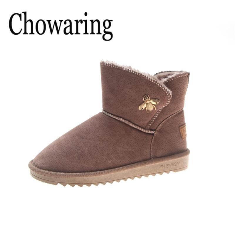 4feddc165 Compre Chowaring Marca Otoño Invierno Mujer Botas Botines Zapatos Niñas  Mujer Felpa Suela Botas Mujer Mujer Negro Nieve A  37.21 Del Penbake