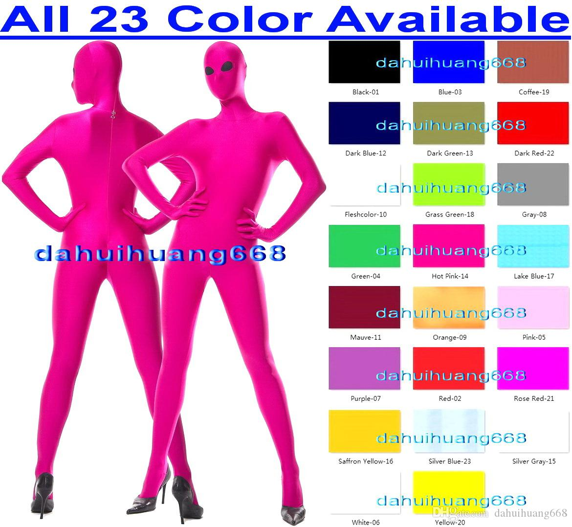 Sexy 23 Color Lycra Spandex Suit Catsuit Costumes Unisex Full Bodysuit Costumes Sexy Body Suit Cosplay Costumes With Black Mesh Eyes DH032