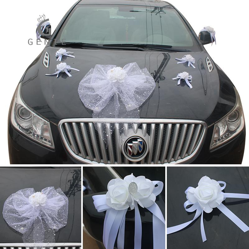 Genie White Wedding Car Decoration Set Artificial Flowers Foam Rose Silk  Pompoms Pearls Diy Cars Accessories Wreath Garland
