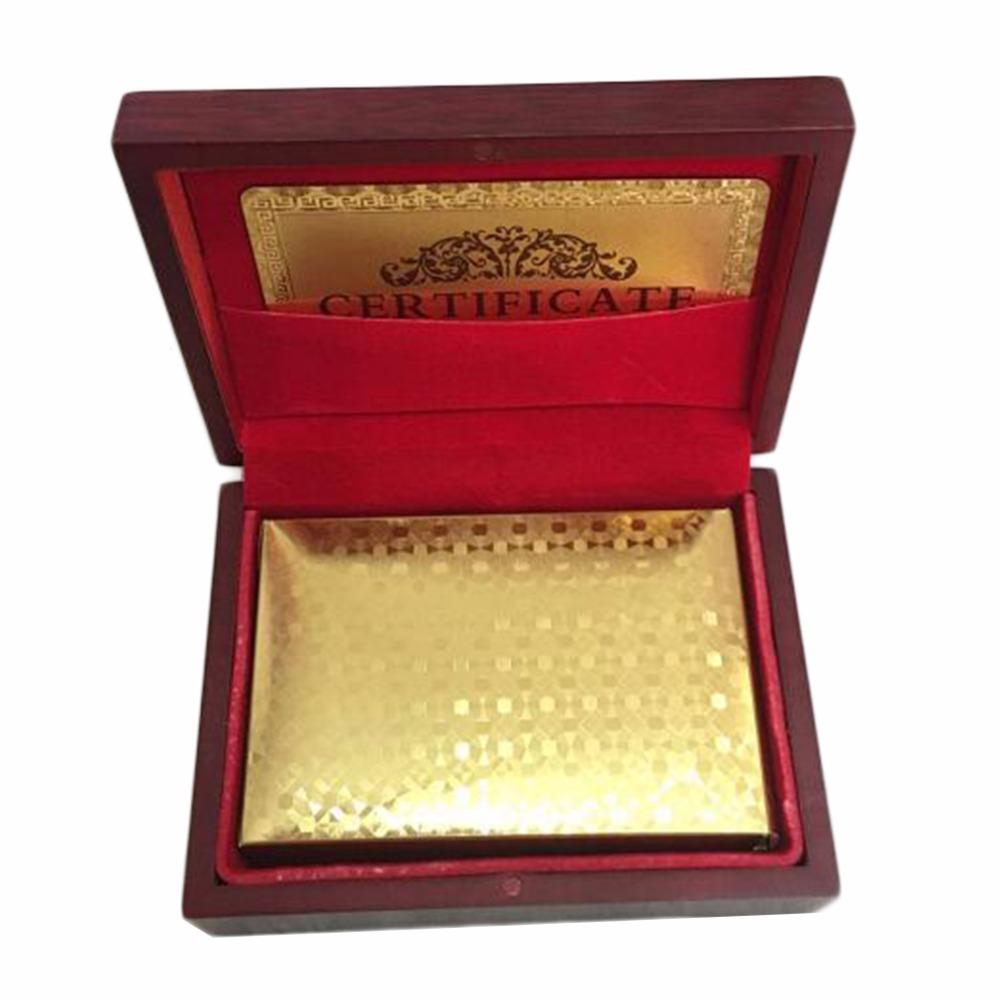 Luxury Gold Foil Poker Playing Card With Gift Box Dollar EUR Plaid Pattern Party Play Game